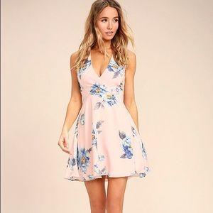 Lulus Blush Pink Floral Print Lace-Up Skater Dress